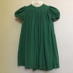 STRASBURG green corduroy puff sleeve dress 2T/2Y